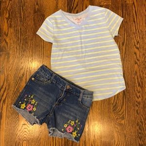 Cat & Jack Jean Short Outfit with Shirt Size M 7/8